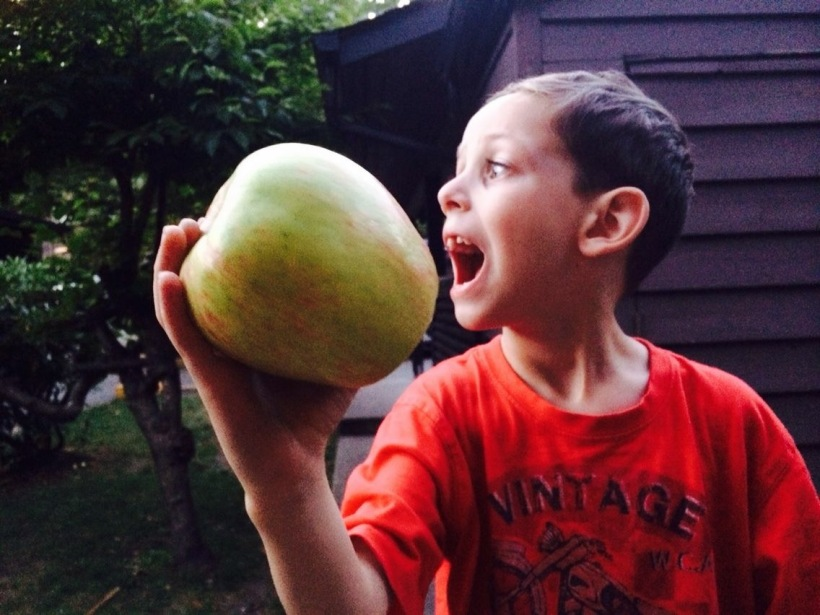 Awesome Son with Giant Apple